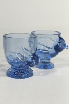 vintage blue glass eggcups, Easter egg cups w/ chick & bunny rabbit