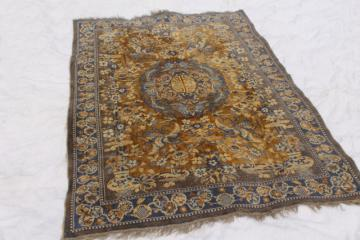 vintage blue & gold rayon / cotton carpet rug w/ oriental cranes or pheasants, shabby gypsy style