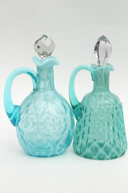 vintage blue green opalescent glass cruets, fern & lattice pattern glass
