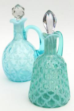 vintage blue green opalescent glass cruets, fern & lattice pattern glass