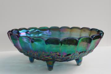 vintage blue iridescent carnival glass, Indiana fruit garland footed oval bowl