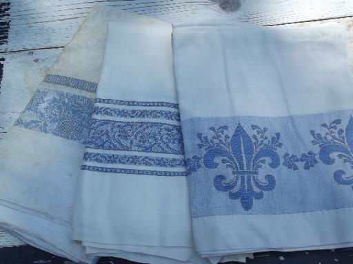 Exceptionnel Vintage Blue Jacquard Border Damask Tablecloth Lot, French Fleur De Lis Etc.
