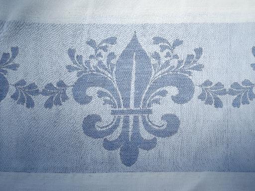 Ordinaire Vintage Blue Jacquard Border Damask Tablecloth Lot, French Fleur De Lis Etc.