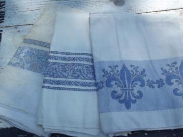vintage blue jacquard border damask tablecloth lot, french fleur de lis etc.