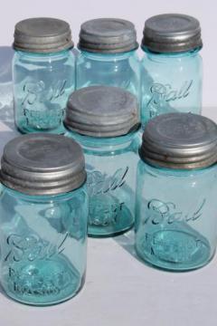 vintage blue mason jar, old Ball jars w/ zinc lids,  lot of 6  Perfect Mason pint jars