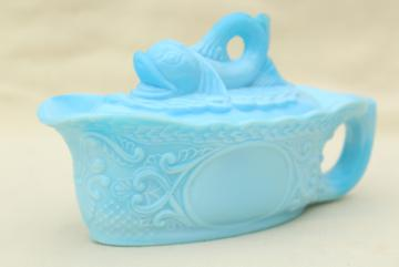 vintage blue milk glass dolphin pattern glass box, candy dish or covered bowl