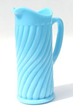 vintage blue milk glass swirl pitcher or tall creamer, Portieux Vallerysthal France