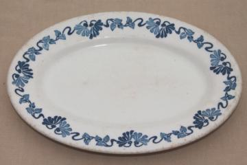 vintage blue princess pattern white ironstone china platter or oval tray plate
