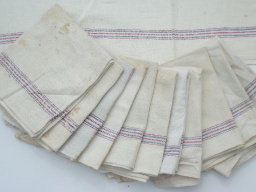 vintage blue & red striped feed sack fabric kitchen dish towels