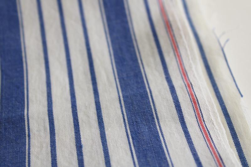 vintage blue striped cotton fabric, tightly woven sheeting weight pillow ticking