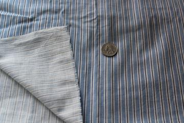 vintage blue striped print shirting fabric, light cotton work shirt material depression era