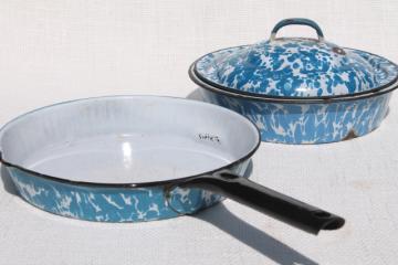 vintage blue swirl enamelware, skillet frying pan & deep dish plate w/ cover