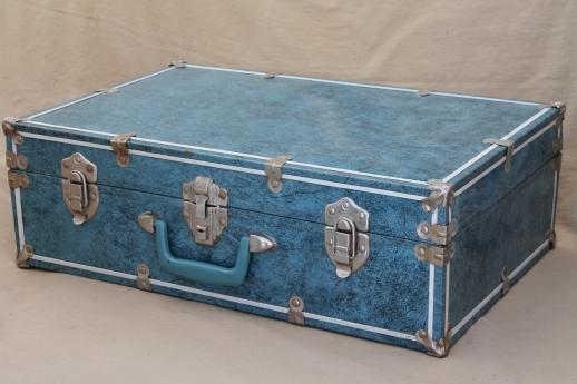 vintage blue tin train case travel luggage, hard-sided metal ...