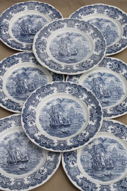 Vintage Blue White Bristol Ports Of England 8 English Transferware China Plates