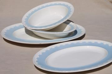 vintage blue & white Wedgwood china Albion Corinthian serving platters & bowls