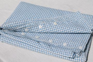vintage blue & white checked cotton duvet or comforter cover, buttoned case for old tick feather bed