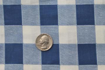 vintage blue & white checked gingham print cotton fabric for kitchen linens