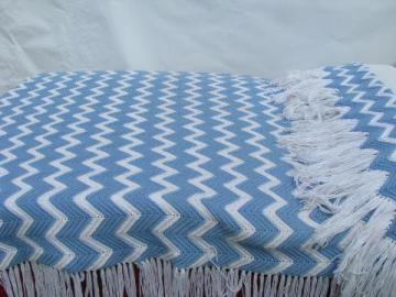 vintage blue & white chevron stripes crochet afghan, really long fringe!