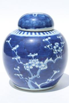 vintage blue & white china Chinese ginger jar, plum or cherry blossom chinoiserie