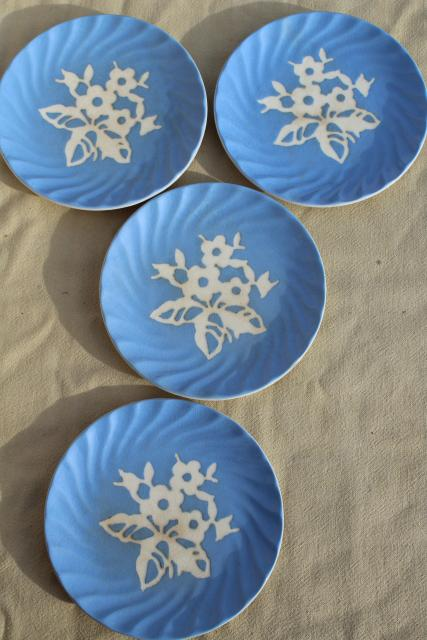 vintage blue & white china, Harker pottery Cameoware, shabby cottage chic plates & bowls