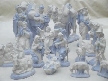 vintage blue & white china nativity scene, handmade ceramic creche figures set