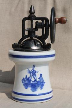 vintage blue & white china pepper grinder, old fashioned hand crank spice mill