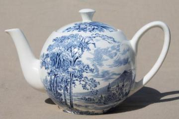 vintage blue & white china tea pot, Wedgwood Countryside pattern