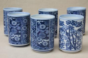 vintage blue & white china tumblers, Japanese ceramic tea glasses w/ bamboo print