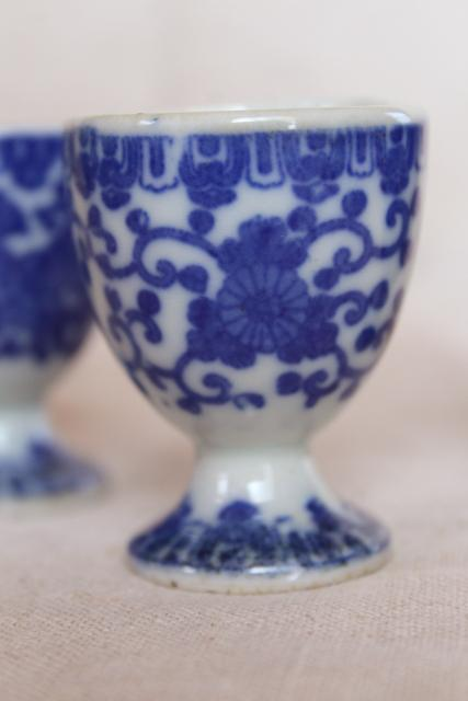 vintage blue & white chinoiserie china egg cups, phoenix bird Japan phoenixware