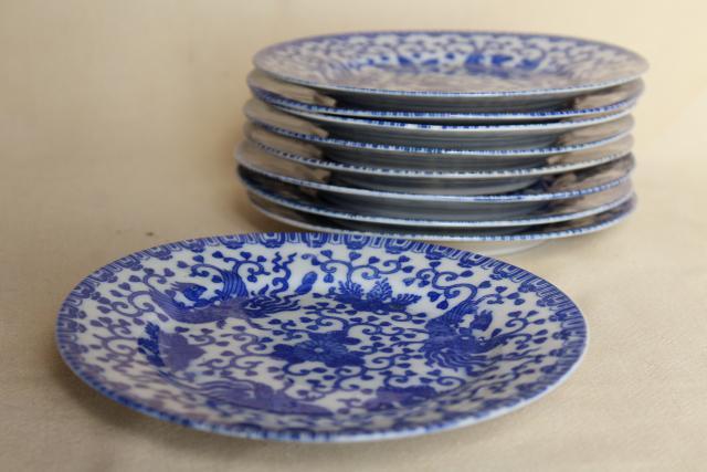 vintage blue u0026 white chinoiserie china plates phoenix bird hand painted Japan & vintage blue u0026 white chinoiserie china plates phoenix bird hand ...