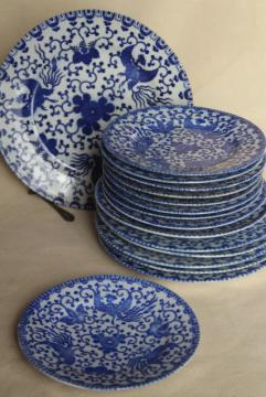 vintage blue & white chinoiserie china plates, phoenix bird hand painted Japan