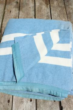 vintage blue & white cotton / rayon camp blanket, double long fold over bunk blanket