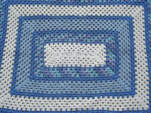 Vintage Blue Amp White Crochet Afghan Huge Crocheted Granny