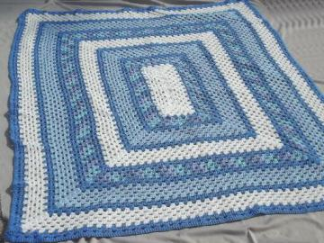 vintage blue & white crochet afghan, huge crocheted granny square blanket