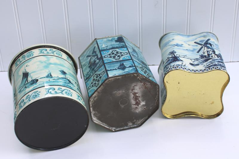 vintage blue & white delft style print metal tins, collection of tin canisters