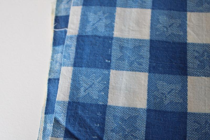 vintage blue & white gingham checkered tablecloth print cotton feedsack fabric
