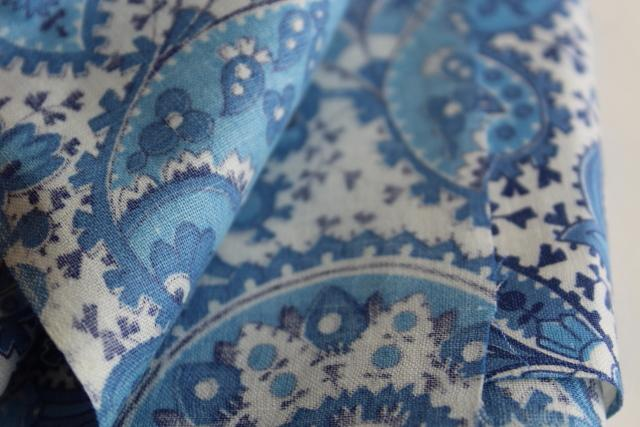 vintage blue & white paisley print fabric, 36 wide soft smooth pure cotton