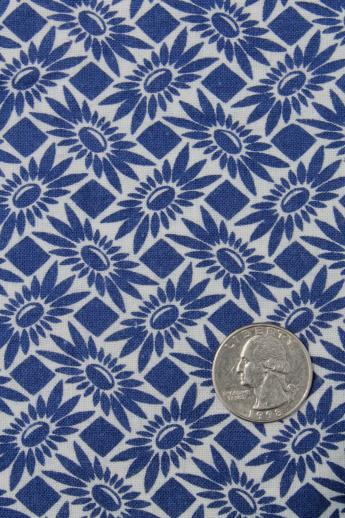 vintage blue & white print cotton feedsack fabric, sewn sack w/ original chain stitching