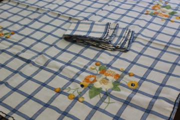vintage blue & white tablecloth / napkins for kitchen diner or tea table, bright flower embroidery