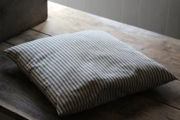 vintage blue & white ticking stripe chair seat cushion, small feather pillow