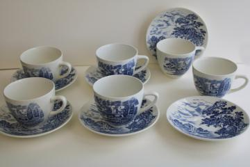 vintage blue & white transferware Countryside Wedgwood china tea cups and saucers