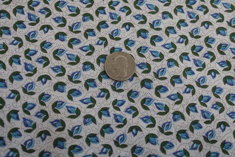 vintage blue & white tulip flowers print feedsack fabric, printed cotton feed sack
