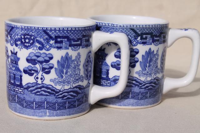 vintage blue & white willow pattern ironstone china mugs or coffee cups