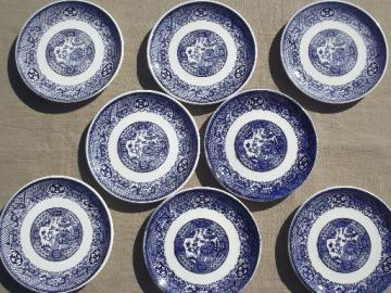 vintage blue willow china cake plates, old unmarked blue & white pottery
