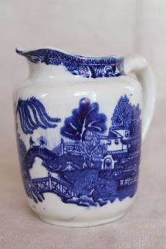vintage blue willow china cream pitcher of milk jug, William James England semi porcelain