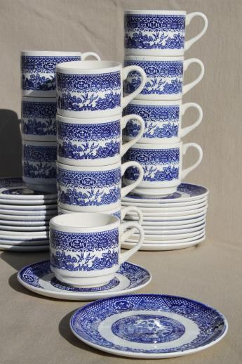 Vintage Blue Willow China Cups Amp Saucers Plates