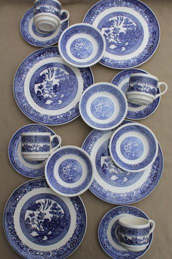 Vintage Blue Willow China Dishes Scio Pottery Dinnerware