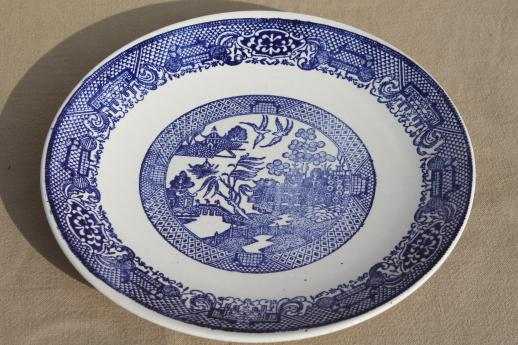 Vintage Blue Willow Dishes Soup Bowls Dinner Plates Royal China Ware