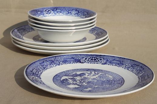 Vintage Blue Willow Dishes Soup Bowls Amp Dinner Plates