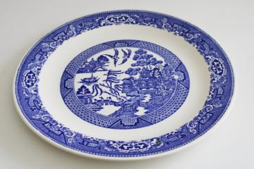 vintage blue willow pattern transferware china round platter, large plate or tray